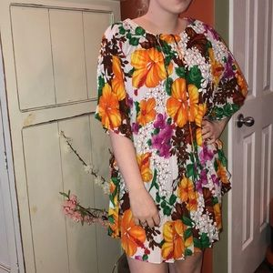 Vintage floral tunic dolman batwing pleated top md